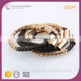 G68700Q01 Saudi Gold Hair Tie Link Chain Bracelet Layered Black Gold Jewelry Design For Girls