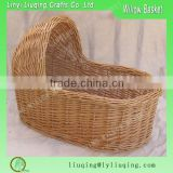 Protable Chinese Handmade Wicker Baby Bassinet Willow Materials Baby Moses Baby Travel Sleeping Basket