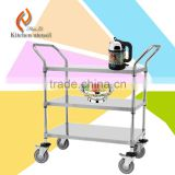 OEM tiers stainless steel commercial kitchen serving trolley for food vegetable facotry professional with wheels