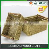 Set of 3 Wooden Holder Seagrass Storage Basket