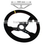 China Supplier for 350mm Wide 90mm Deep Dish Black Suede Aluminum Custom Steering Wheel