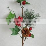 "2015 newest special artificial pine needle and foam red berry pick 15"" branches pick for chrismas decoration pick"