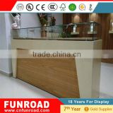 Customized new design plywood baking paint glass retail display showcase glass display showcase