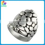 Best freinds paved stone design stainless steel man big custom signet ring
