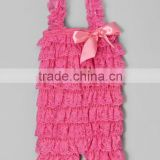 Hot pink newborn baby wholesale clothing lace ruffle boy romper ruffle baby romper