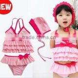 JPSKIRT2015080312015 Baby Girls Tankini Swimsuits Fashion Lace Flower Dresses + Short + Hat 3Pcs Child/Kids Swimwears for Girls