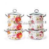 Red Rose Full Decal Belly Casserole Cooking Pot 6Pcs Enamel Casserole Set With Stainless Steel Handle