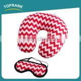 Toprank Colorful Stripes Printed Microbead Pillow And Eyemask Comfortable Neck Pillow Travel Set Sleeping Airline Travel Kit