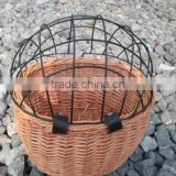 wicker bicycle basket with cage for cats or dogs factory supply