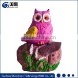 Attractive fuchsia color Welcome owl garden sign Statue rock