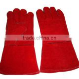 14 inch Red cow split leather welding working gloves, welding gloves,safety gloves from Guangzhou factory