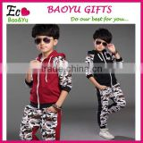 2015 New Design Kids Boys Sports Clothing Sets With Pocket Kids Suit High Cotton Coat + Pants Wear For Boy Clothes