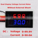 Dual LED Digital Voltmeter Ammeter DC0-100V (0-50A) Red + blue