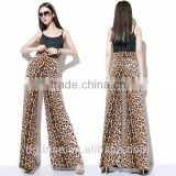 The new fashion design leopard grain pants ladies loose cheetah print dress tall waist casual bell-bottom trousers for women