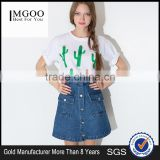 MGOO Imported Factory Manufacturer Fashion Denim Blue Buttons Skirts For Women A Line Knee Length 15144B699