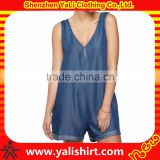 High quality comforable soft and thin summer 100%cotton v neck women oversize denim bib overalls