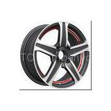 Lightweight 14 Inch Car Alloy Wheels With 4 Hole Red Lip in Machine KIN-267
