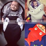 Hot sale shark cotton anti kicking quilt Baby sleeping bag with Detachable sleeves