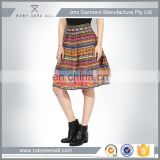wholesale hot sexy young girl shot flared skirt with Bohemian red printed tier double layer design hot sale