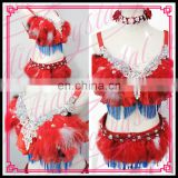 Aidocrystal Feathered Bra And Panty Wholesale Sexy Carnival costume Feather mini skirt and Feather Bra
