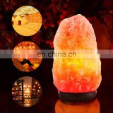 Himalayan Salt Lamp Natural Himilian Hymalain Pink Salt Rock Lamps with Genuine Wood Base,