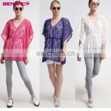 Fancy Flower Short Cover Up Bikini Lace V Neck Kaftan
