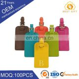 Promotion gifts colorful modern luxury reusable leather luggage tag for traveling