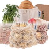 GoEco Reusable Fruit Bags and Vegetable Bags Set of 4 Fruit Net Vegetable Net Including Bread Bag Shopping Net Made of Cotton#