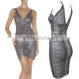 2015 New HL Sleeveless Deep V-neck Gold Silver Black Foiling Print Bandage Dress Sey Elegant Cocktail Bodycon Women Party Dress