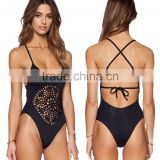 2016 New Hot One Piece Swimsuit Women Swimsuits Sey Plus Size Swimwear Push Up Braided Hollow Bra Maillot Black White Bodysuit