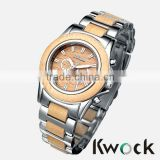 Kwock NEW ARRIVAL STAINLESS STEEL AND WOOD QUARTZ MENS WATCHES
