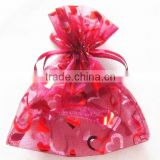 Light Red Grape Wine Bottle Packing Organdy Drawstring Printed Ribbon bag and gift pouches