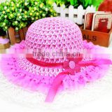 Double lace sun hat for kids cotton children sun visor hat shading straw hat 6colors available