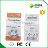 1.4V Nominal Voltage and Zinc/Air Battery Type Hearing Aid Battery Size A13/A675/A312/A10