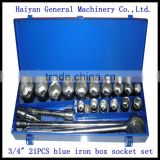 "3/4"" drive 21pcs auto tool set, socket wrench machining part impact socket wrench set"
