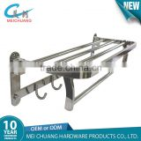 Hotel style wall mounted chrome bathroom towel holder with bar