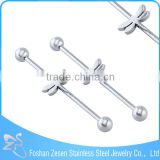 Surgical steel fashion unique ear industrial barbell dragonfly piercing jewelry