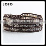 Fashion Jewelry 4 Strands 4mm Agate/Turquoise/Aquamarine/Opal Handmade Brown Leather Beaded Wrap Bracelet Excellent Handwork