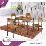 Home furniture walnut color dining room table and chairs good price square wood table dining sets