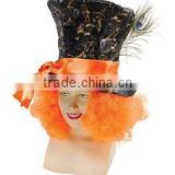2015 MAD HATTER TOP HAT WITH ORANGE WIG HAIR FANCY DRESS TEA PARTY COSTUME ACCESSORY HT132