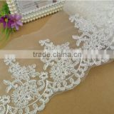 high quality the factory sale 15cm width wedding veil tulle cord lace trims wholesale