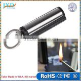 Waterproof Outdoor Camping Metal Permanent Match Striker Lighter with Key Chain Survival Matches Silver