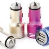 NEW arrival universal 5V3.1A dual-port aluminum shell mergency escape hammer mini car chargers