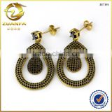 Brazil hot sale micro pave nano black brass earrings without plating                                                                         Quality Choice