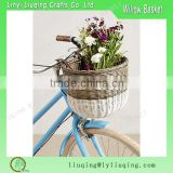 Grey And White Color Oval Handmade Soft Wicker Bicyle Basket