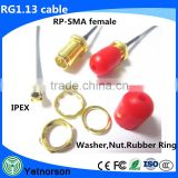 Customized length RF Coaxial SMA Cable Assembly SMA connector to ipex receptacle connector