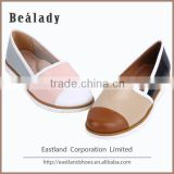 (E1710-X1) Mixed color leather anti-skidding rubber sole flat heel casual slip on shoes loafers fashion lady shoe