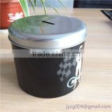 Delicate new customized designed china factory directly tin piggy bank cheap round tin coin bank with lid