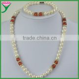 Beautiful Cheap sale india 8-9mm natural freshwater pearl jewelry set