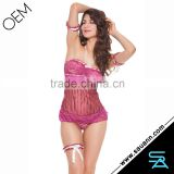 Fashional Vertical Stripe Halter Lingerie with Garter